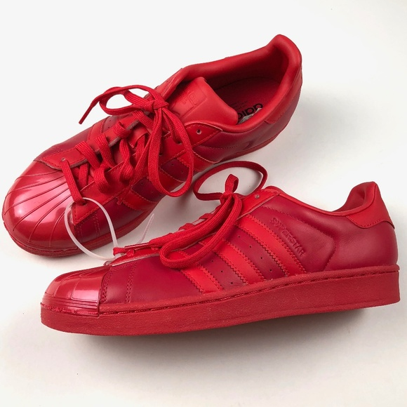 Adidas Red Superstar Glossy Toe Sneaker Size 9.5 NWT